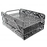 Quality EasyPAG 3 Tier Desk Tray Carved Hollow Flower Pattern Design Triple Letter Tray wholesale