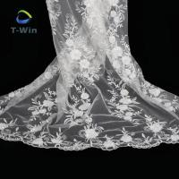 Quality New Design White Beaded Lace Fabric With Beads For Daughter Wedding Dress wholesale