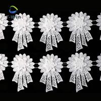 Quality White fancy embroidery 3d lace trim for garment wholesale