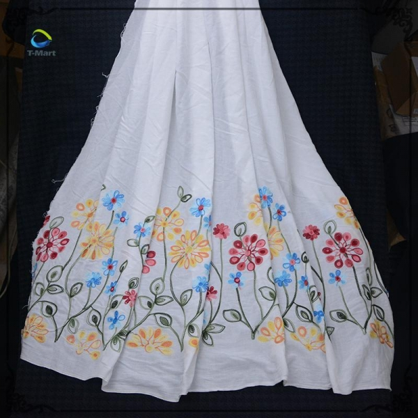Cheap High quality soft touch custom design flat embroidered lace fabric for sale