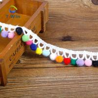 Buy cheap cotton Lace trimming lovely colorful Pom Pom lace trim for garment accessory from wholesalers