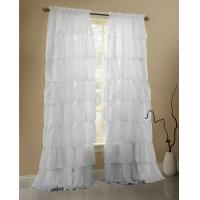 China White Ruffle Curtains Gypsy Lace Curtains for Bedroom Curtains for Living Room - White 60x84 inch Ru on sale