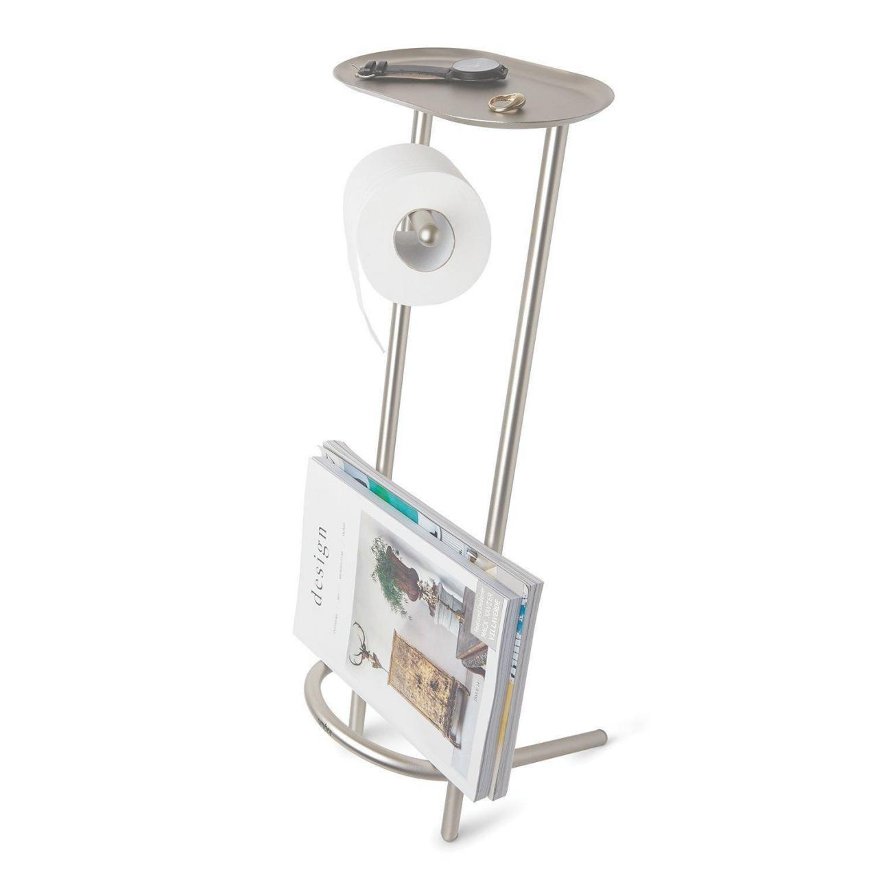 Quality Dailyart Free Standing Toilet Paper Holder and Magazine Nickel Finish Tissu07 wholesale