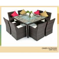 Buy cheap PE rattan outdoor/indoor square table and chairs furniture 8 seater rattan dining sets OMR-G151 from wholesalers