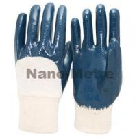 China NMSAFETY cotton liner half coated cheap knit cuff blue nitrile glove/working glove on sale