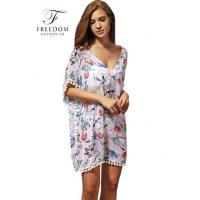Quality Chiffon Floral Printed Women Tunic Summer Resort Wear wholesale
