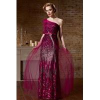 China Rose One Shoulder Ruched Gorgeous Long Evening Dress S921 on sale