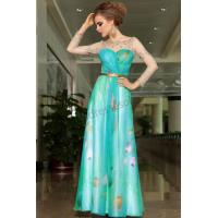 China Blue A-line long sleeves Printed elegant celebrity Pageant dress S903 on sale