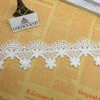 Quality Golden Knit 6.5cm Milky Yarn Embroidery Indian Lace Trim HX080# wholesale