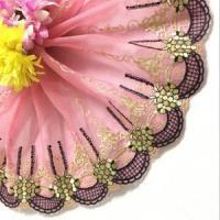 Quality Golden Knit 20cm Width Nylon Tulle Polyester Embroidery Colored Lace Trim FDS44370# wholesale