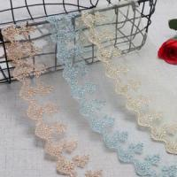 Quality Golden Knit 10cm Width Tulle Lace Trim Gold Embroidery Net Lace YD6807# wholesale