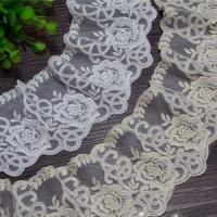 China Golden Knit 8.5cm Width Cotton Lace Trimming Clothing Home Textile Netting Embroidery Lace on sale