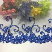 China Golden Knit 21cm Width Two-color Lace Soft Mesh Blue Embroidered Lace Water-soluble on sale