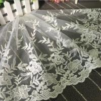 China 35cm Width Cotton Voile Embroidery Bridal Lace Trim XZ014# on sale