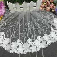 Quality 26cm Width White Cotton Netting Lace Trim for Children's Clothing 2248# wholesale