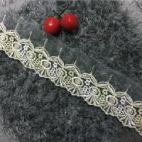Quality 6cm Width Tulle Type Embroidery Double Color Lace Trim W619# wholesale