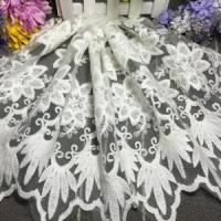 China 35cm Width Mesh Fabric Embroidery Cotton Lace for Curtain on sale