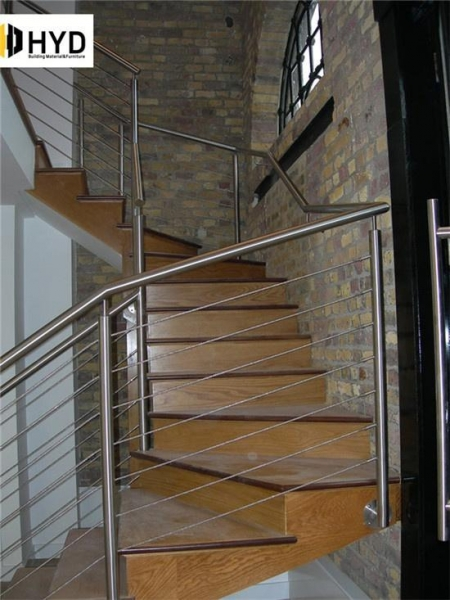 China Wire Rope Balustrade / Cable Railing With Stainless Steel Post Or Wood Post