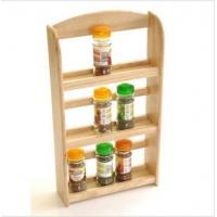 China 3 Tier Wood Wooden Herb Herbs Jar Holder Spice Rack Stand Kitchen Wall Mounted on sale