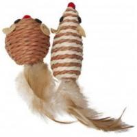 Cats Zone Twined Mice with Feather - Natural