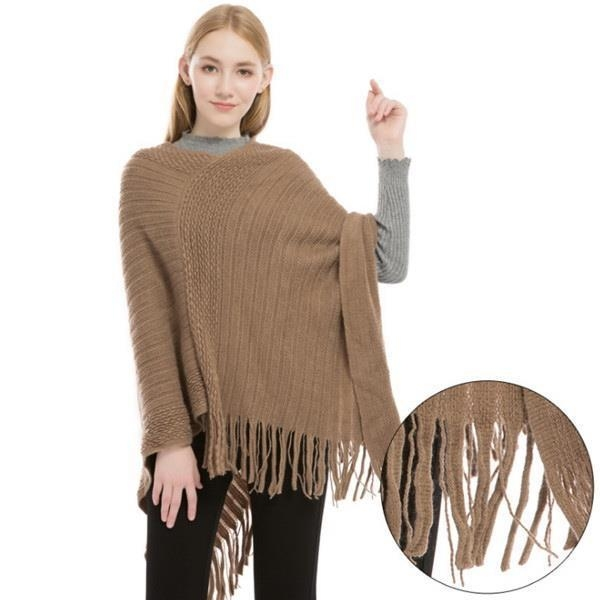 China Cashmere Feel Poncho Sweater