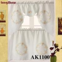 China Embroidered Sheer Kitchen Curtain Tiers & Swag Set - 56x36 & 27x36 (Gold) on sale