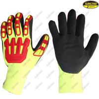 Quality 13 gauge polyester waterproof double coating sandy nitrile palm padded TPR gloves wholesale