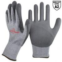 China 13 Gauge Grey Kintted Liner Palm Coated PU Cut Resistant Gloves DY110DG-PU on sale