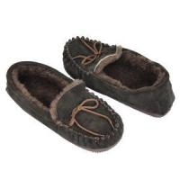 China mens sheepskin moccasin genuine shearling black slippers on sale