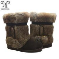 Buy cheap Women Lace up Pom-Poms Flat leather fuzzy Boots from wholesalers
