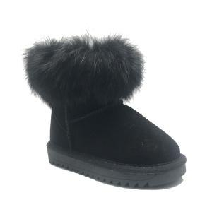 Cheap Girls Winter Warm Fur Lined snow leather boots for sale