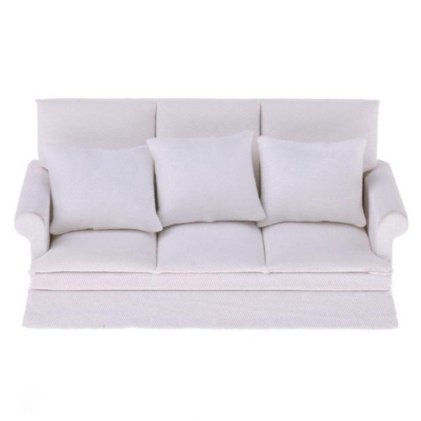 Cheap 1:12 Dollhouse Furniture Three-Seater Couch Sofa Pillow Set White for sale
