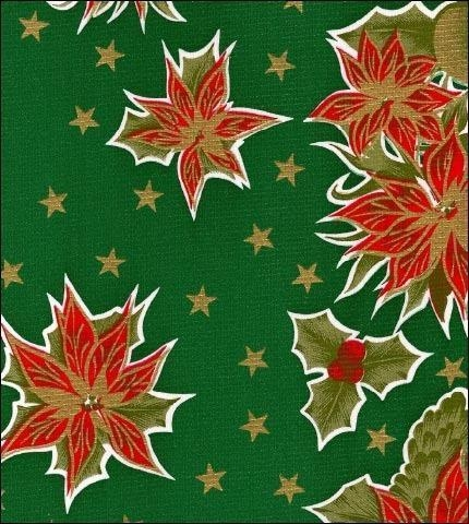 Cheap Christmas Stars Green Oilcloth for sale