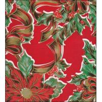 Christmas Ribbons and Holly Red Oilcloth