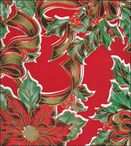 Cheap Christmas Ribbons and Holly Red Oilcloth for sale