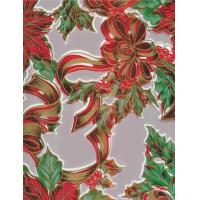 Christmas Ribbons and Holly Silver Oilcloth