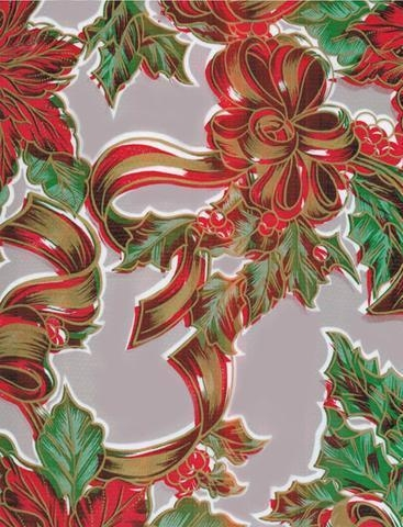 Cheap Christmas Ribbons and Holly Silver Oilcloth for sale