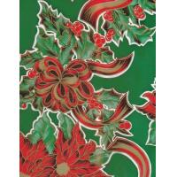 Christmas Ribbons and Holly Green Oilcloth