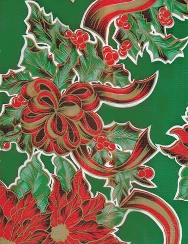 Cheap Christmas Ribbons and Holly Green Oilcloth for sale