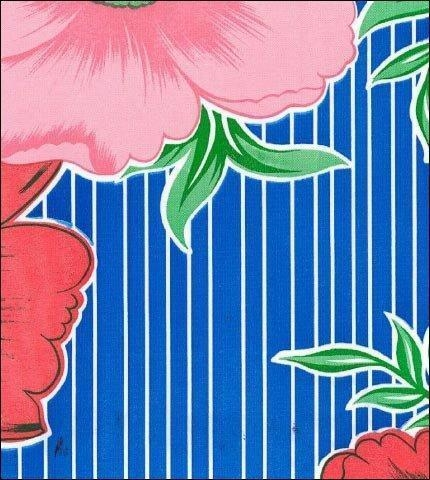 China Big Flowers and Stripes Blue Oilcloth
