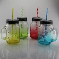China High quality 16oz 450ml painted drinking glass mason jar with screw cap and handle wholesale on sale