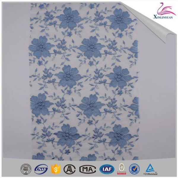 China French Blue Net Lace Fabric Embroidered